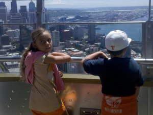 Kids at top of Space Needle