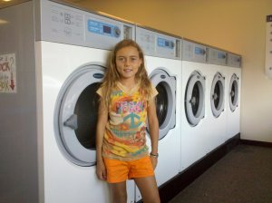 Kids first laundry mat experience
