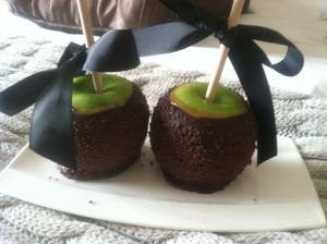 St Regis dark choc caramel apples