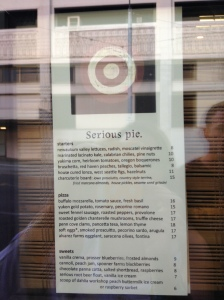 Menu on window of Serious Pie