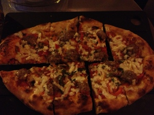 Serious Pie's sweet fennel sausage, roasted peppers, provolone