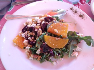 The Pink Door's roasted beets, arugula, gorgonzola cheese & toasted walnuts