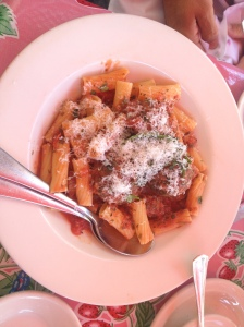 The Pink Door's rigatoni and mama's meatballs