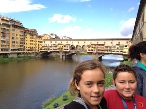 Kids in front of Ponte Vecchio