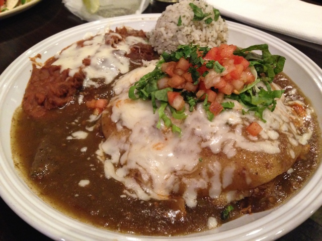 Chicken Stacked Enchilada with Green Chile Sauce